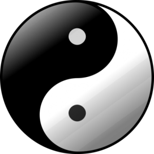 Taidzi (emblēma, kas simbolizē jiņ un jan mijiedarbību). Attēls no http://pixabay.com/en/taijitu-yin-yang-ball-bull-circle-161352/