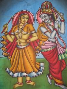 Dievs Krišna un viņa laulātā draudzene Radha. Batiks. Indija (no E.Taivānes fotoarhīva